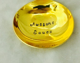 Awesome Sauce Gravy Ladle Hand Stamped Gold Plated Silverware Vintage