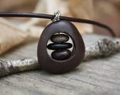 Drilled Lake Superior rock, rock necklace , River Rock jewelry , rock cairn, carved rock, upcycled stone, beach stone