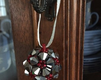 Silver and Red Beaded Ornament