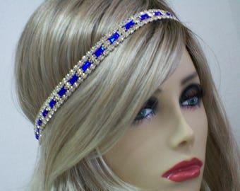 Royal Blue 1920s headband, Flapper headpiece, Great Gatsby headpiece, Rhinestone headband, 20s hair accessories, Roaring 20s dress, Jazz Age