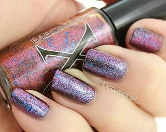 Surrealistic - Glass Flakie Polish - Multichrome Flakies - Shifting Glass Fleck Nail Polish - Purple to Burgundy to Orange Shifting Flakes