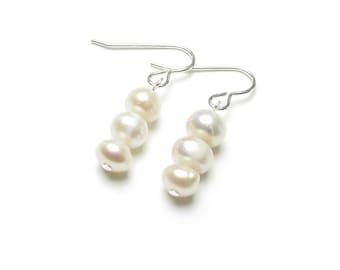 Freshwater pearl wedding earrings stacked button pearls on sterling silver ear hooks, bridal pearl drop earrings, wedding jewellery, Zurie