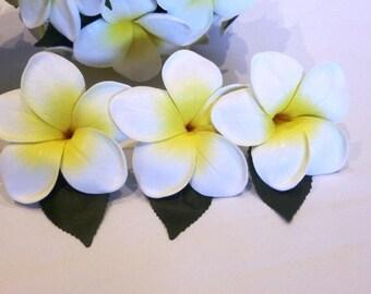 Set of 5 - White Yellow Frangipani Buttonhole, Frangipani, Plumeria, Frangipani Boutonniere, Beach, Tropical, Wedding, Formal