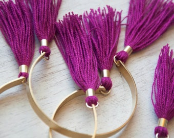 Tassel Bracelet -  Purple, Magenta, Brass Cuff Bracelet, Rose and Gold Tassel, Stacking Bracelet, Bangles