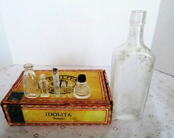 Seven Old Glass Bottles; McConnon & Co. Winona, Minn., Old Perfume Bottle Possibly Avon, Old Glass Vials, Old Glass Bottles in Great shape