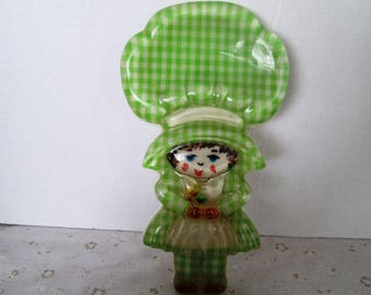 Vintage Holly Hobbie Spoon Caddy, Resin Spoon Rest; Holly Hobby Inspired, Green Gingham Design, Home Decor, 1960's, Retro Kitchen Spoon Rest