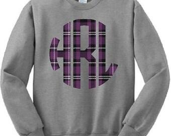 Monograms, Plaid, Sweatshirts, School Spirit, Custom, Purple Plaid, Hoodies, Shirts, Red, S