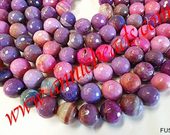 Beautiful Round Faceted Multi Lavender Colored Agate!!!!