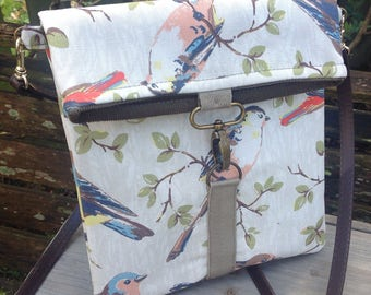 Fold top across body messenger bag in bird fabric