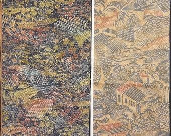 Vintage kimono silk fabric-2 pcs #7411