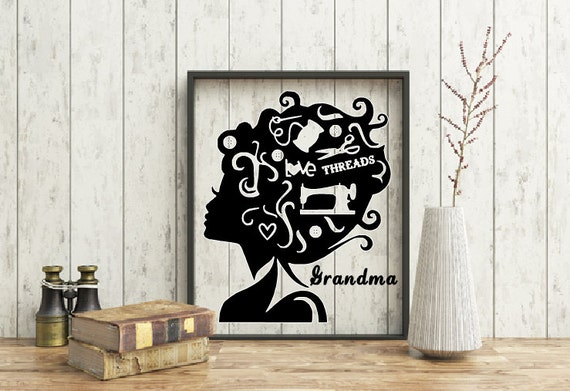 Seamstress lady silhouette, Frame, Sewing gift, Woman sewing, Sewing room, Stitches, Crafting, Quilter, Fabric, Sewing Machine