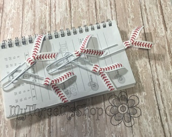 Baseball Planner Bookmark Ribbon Paperclip Ball Mom Planner Clips Baseball Party Favors Planner Clip Bookmarks Set of 5