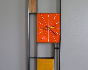 Mid Century Inspired Black Red and Leather Geometric Wall Clock - Limited Edition