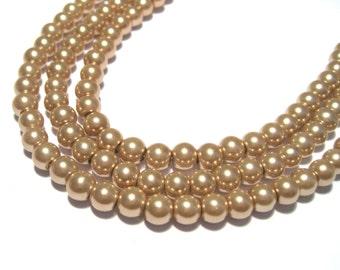 100pcs Dark Brown Glass Pearl Beads 6mm Round No.2