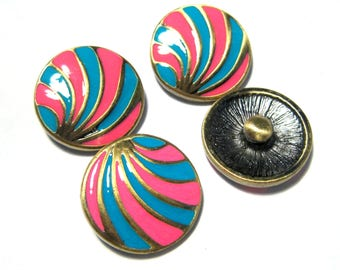 """20mm Antique Bronze Blue & Pink Enamel Shell Pattern Snap Buttons Charms Knob Size: 5.5mm( 2/8"""")"""
