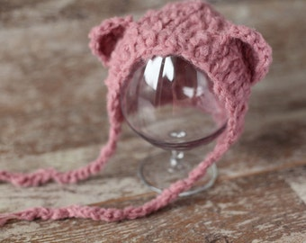 Baby Bear Newborn Hat,Baby knitted hat, Baby Boy Baby girl Hat, Knit baby hat, Photo prop, Photography Hat