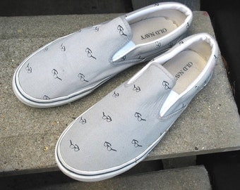 Used Old Navy Blue Beige Canvas Tennis Shoes Boat Shoes 11