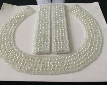 PEARL Beaded Collar and cuffs