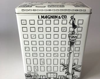 Vintage Black and White i Magnin Union Square San Francisco Metal Tin Made in England