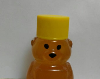 Cutie honey bear, 2oz yellow lid. Raw unfiltered honey, baby shower, wedding favor, love is sweet