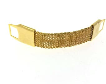 Gold Mesh Wrap Around Cuff Links Removable Vintage Style