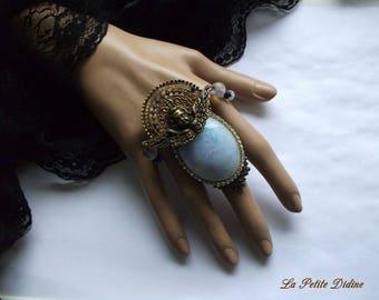 Baroque ring, Angel, opalescent and gold, bronze, Cherub, Ring, Neo-baroque, Rhinestone aurora boreale preciosa, Cupid,Vintage,Louis XIV,Sun