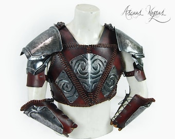 Nordic steel and leather armor. Barbarian armor. Leather cuirass, shoulders armor and metal bracers. Viking armor. Larp Armor.Party Costume.