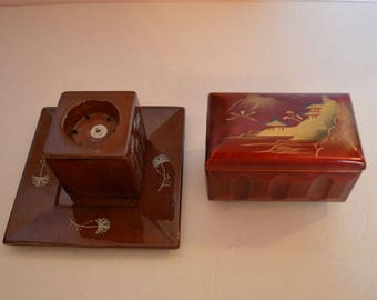 Asian In-scent Burner & Matching Plate PLUS Music Box.