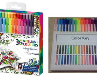 Fineliner Pens for Adult Coloring Books 36 Count, Vibrant Pens For Any Artists, High Quality Fine Line Pens For Adult Artist Coloring Books