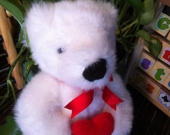 "Valentine Ty White Stuffed Romeo Teddy Bear Red Heart Animal 15"" / 39 cm no tag 1997"