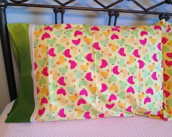 Two Chicks Pillowcases made from the Urban Zoologie line.  Ann Kelle for Robert Kaufman