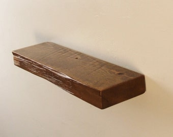 """18"""" x 2"""" x 5"""" deep Reclaimed floating shelf, Pine, antique, unique, 1800's, Industrial, old growth"""