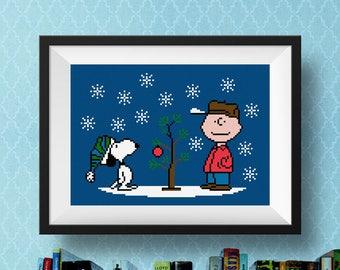 Cross Stitch Pattern Charlie Brown Christmas | Cross Stitch Pattern PDF | Cross Stitch Charts | Snoopy | Peanuts Cross Stitch Pattern | Snow