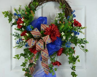 4th of July Door Wreath - Patriotic Wreath - American Flag Wreath - Memorial Day Door Wreath - American Wreath - Patriotic Door Wreath