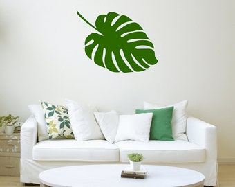 Monstera Leaf, Wall Decal, Wall Stickers, Flora Decals, Plant Stickers, Plant Life Decal, Leaf Stickers, Leaf Decals, Nature Stickers