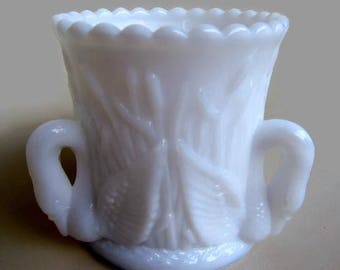 "Westmoreland Glass Company Three Handled ""Swan & Rushes"" Opalescent Milk Glass Toothpick Holder"
