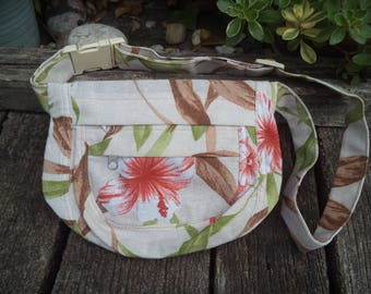 Floral canvas fanny pack,hip bag
