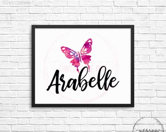 Watercolour Butterfly Custom Birth Print/ Custom Nursery Print/ Digital Print