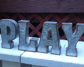 You Choose Letters / Set of 4 Industrial Metal Letters / You Pick Word / Galvanized Metal Letters/ PLAY Sign