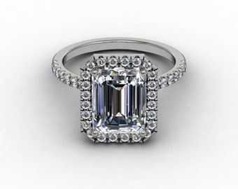 Moissante Halo Ring Emerald Cut Engagement Ring 2.52ct Forever One Moissanite Ring .45ct Natural Diamonds White Gold Pristine Custom Ring