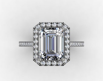 Forever one Moissanite Engagement Ring 2.52ct Emerald Cut Center Moissanite sides and Halo Ring 14kt White Gold Pave Set Wedding Ring
