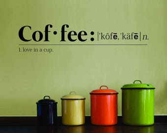 The Definition Of Coffee Vinyl Decal Wall Sticker Decor