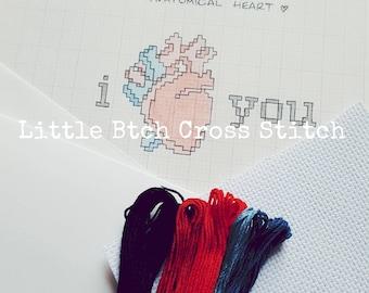 Anatomical Heart Cross Stitch Kit, Modern Cross Stitch Kit, Heart Cross Stitch Kit, Cross Stitch Kit, Craft Kit, DIY Kit, Make Your Own