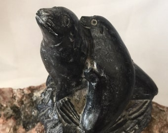 Vintage Canadian wolf original inuit sculpture soapstone seals pair mother and cub figure