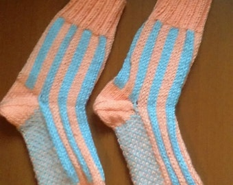 House Socks. Hand Knitted, Peach Color and Light Blue Striped with Unique Stitch on Sole