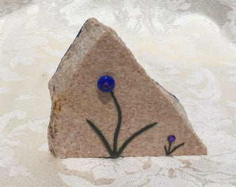 stone, decor, recycled, repurposed, clay, bling, blue, purple, hand crafted, gift, eco friendly, salvage, flowers, mother sister, friend