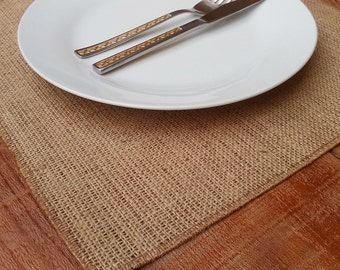 Burlap Placemat -  Square Burlap Tablemats - Plate Charger - Table Settings - Wedding Placemats - Rustic Table Decor - Set of 6