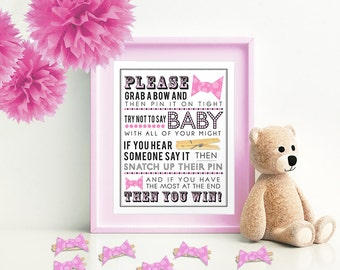 Pink Clothespin Game [with Bows] for Baby Shower 5x7 & 8x10 PDF  Instant download printable