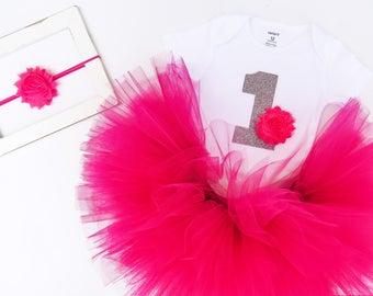 Hot Pink 1st Bday, Girls 1st Birthday, First Birthday Outfit, Baby Birthday Outfit, Hot Pink Birthday Outfit, 1st Birthday Tutu, Rainbow 1