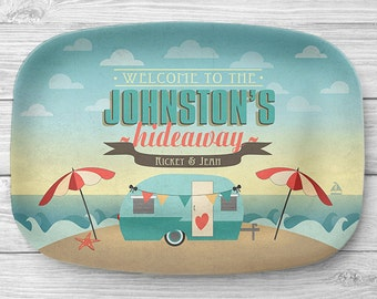 Personalized Camper Platter, Personalized Melamine Beach RV Travel Trailer Serving Platter, Beach Camping Platter, Camping Decor, RV Decor